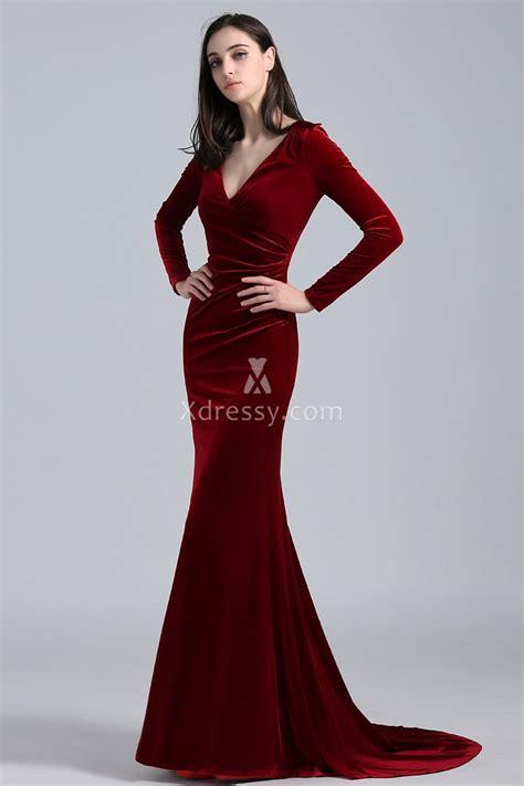 Longdress Velvet khlo 233 burgundy velvet sleeve v neck