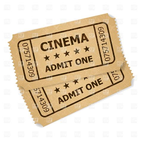 cineplex no passes two old cinema tickets royalty free vector clip art image