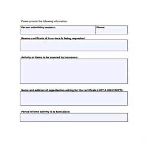 Certificate Of Insurance Request Form Template by Certificate Of Insurance Template 13 Free