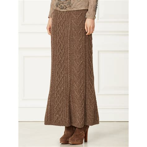 cable knit skirt ralph cable knit skirt in brown lyst