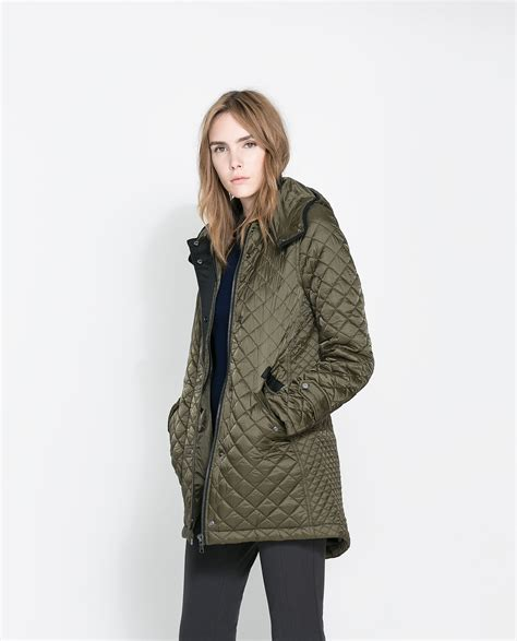 Quilted Coat zara quilted coat with in green lyst