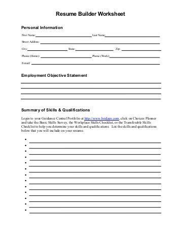 resume builder worksheet worksheets releaseboard free