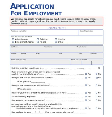application form format 15 employment application templates free sle