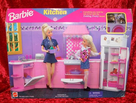 barbie home decor 1996 barbie doll decor kitchen play set folding prety house collection nrfb ebay