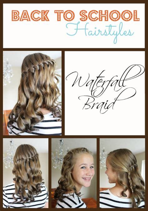 diy back to school hairstyles for medium hair back to school hairstyles waterfall braid