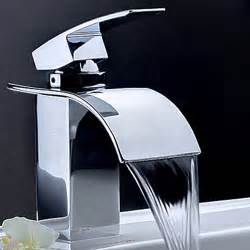 contemporary waterfall bathroom faucet chrome finish