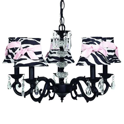 Zebra Print Chandelier Black 5 Arm Glass Turret Chandelier Optional Zebra Shades