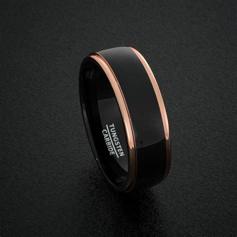 tungsten wedding bands 8mm mens ring two tone black