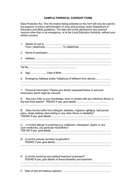 parental consent form template gallery templates design