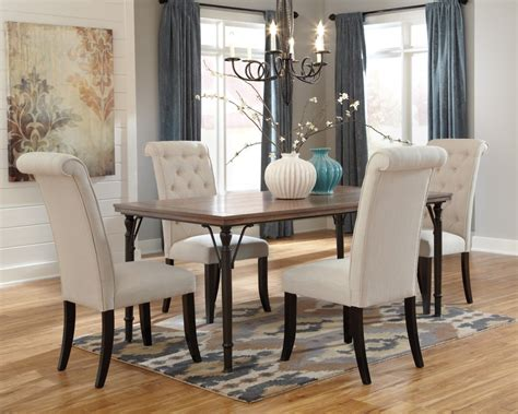 Tripton Rectangular Dining Room Table 4 Uph Side Chairs Four Dining Room Chairs