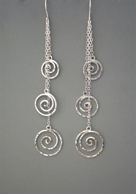 Handmade Jewelry Earrings - sterling silver spiral dangle earrings wilder