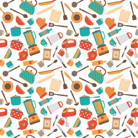 kitchen pattern vector free cooking utensils background cute seamless pattern with