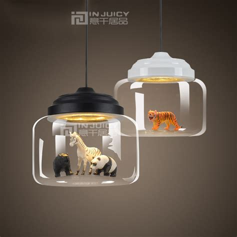kid room lighting modern animal zoon glass ceiling light l droplight