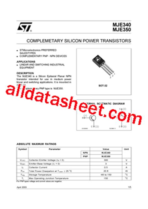 transistor mje340 datasheet mje340 datasheet pdf stmicroelectronics