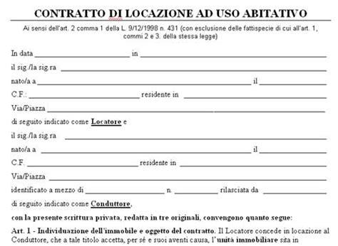 contratti affitto casa facsimile contratto locazione ad uso abitativo in word