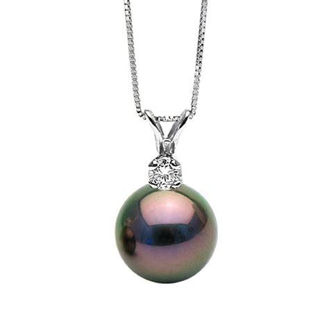 Black Tahitian Pearl and Diamond Glimmer Pendant, Sizes 9.0 13.0mm