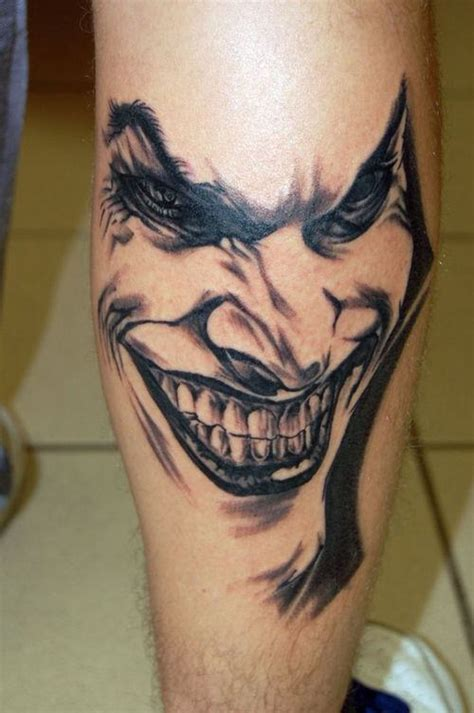 Joker Tattoo On Leg | huge joker tattoo on leg