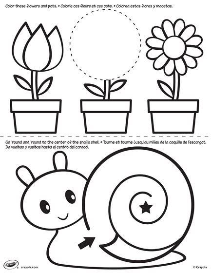 crayola coloring pages flowers first pages flower and snail coloring page crayola com
