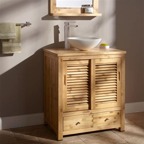 bamboo vanity top  vessel sink bathroom