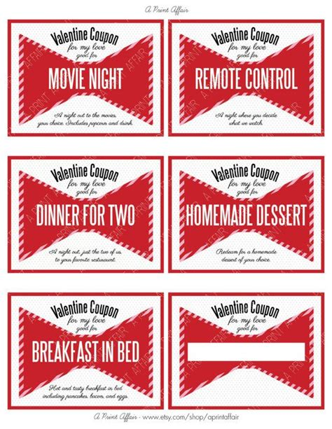 printable gift certificates for wife valentine s day coupon book for husband or wife by