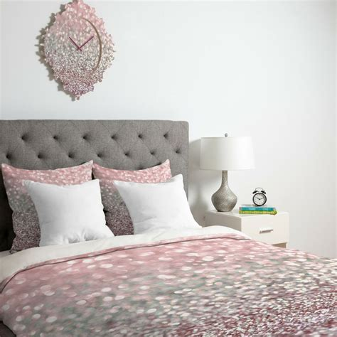 sparkle bedding lisa argyropoulos girly pink snowfall duvet cover deny