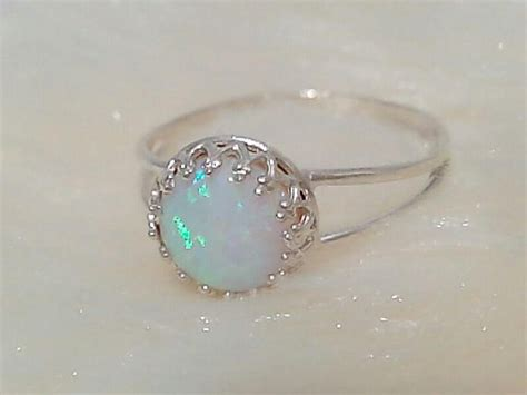 white opal ring engagement gold silver opal rings by