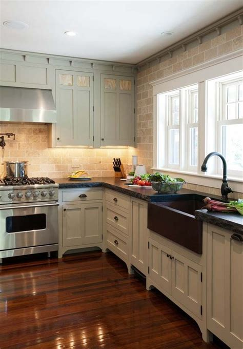 stone accent wall kitchen farmhouse with kitchen sink in fantastic kitchen with copper farmhouse sink exposed