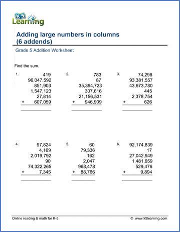 grade  math worksheet addition adding  large