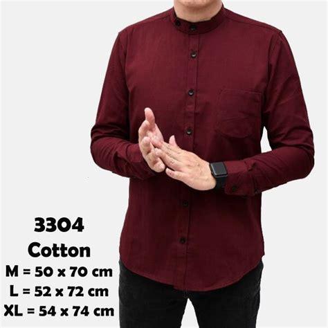 Xl Merah Hitam Panjang baju hem kemeja lengan panjang pria merah maroon hitam