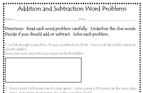 addition subtraction word problems printable worksheet
