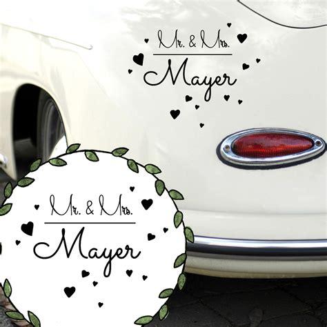 Herz Aufkleber Mit Namen by Autoaufkleber Autotattoo Hochzeit Mr Mrs Mit Herzen