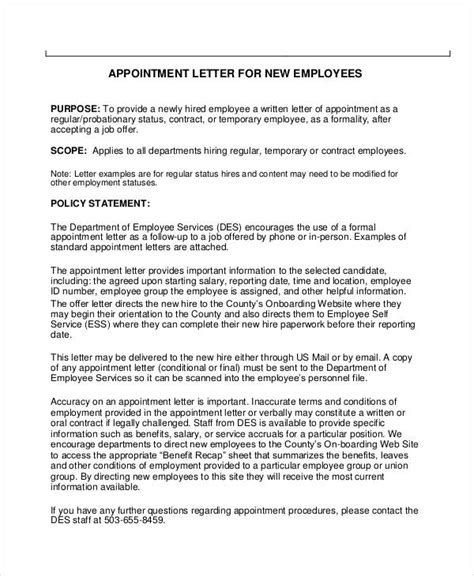 appointment letter employment agreement 49 appointment letter exles sles