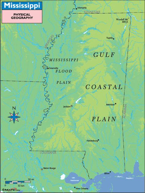 physical map of mississippi mississippi river physical map afputra