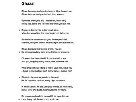 theme long definition ghazal and man hunt
