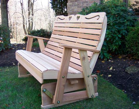 wood bench glider creekvine designs cedar wood royal country hearts rocking