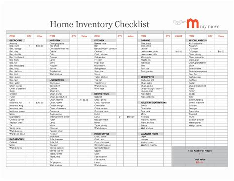Home Contents Inventory Template
