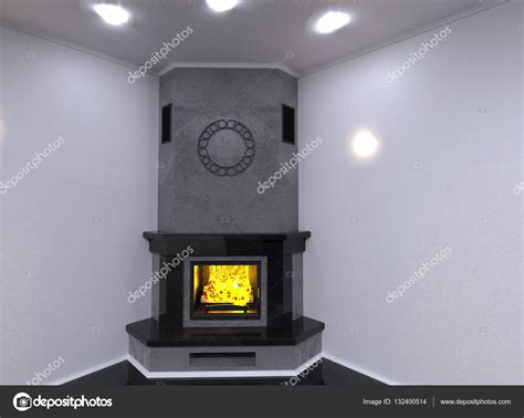 Fireplace Render by Corner Marble Fireplace 3d Render Stock Photo