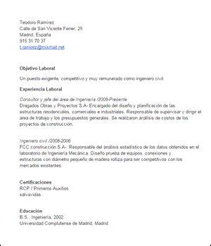 Modelo Curriculum Vitae Ingeniero Civil Modelo De Curriculum Vitae Objetivo Laboral Modelo De Curriculum Vitae