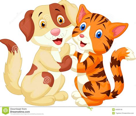 imagenes libres de royalties cute cat and dog cartoon royalty free stock image image