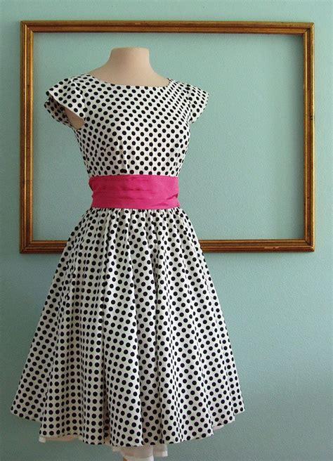Vintage Look Wardrobe by Retro Dress Custom Made Clothing Black And White Polka