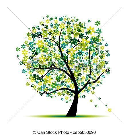 alberi clipart clipart vettoriali di primavera albero uccelli disegno