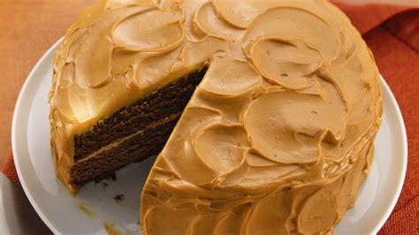 mexican chocolate cake with caramel cream frosting recipe from pillsbury com