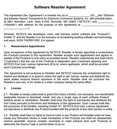 reseller agreement 7 download free documents in pdf word