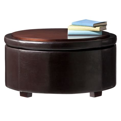 Espresso Living Room Round Storage Cocktail Ottoman With