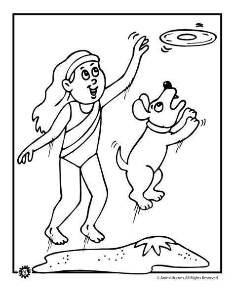 beach dog and frisbie coloring page animal jr