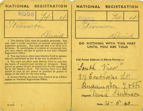 ww2 id card template ww2 national registration identity cards