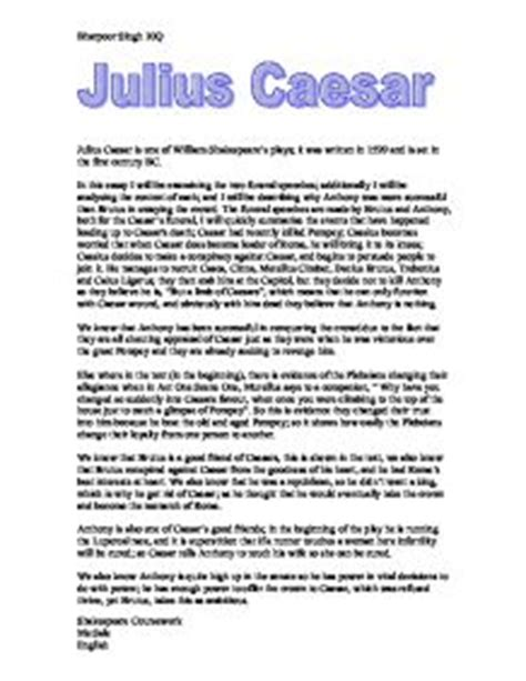 Julius Caesar Brutus Essay by Julius Caesar Gcse Marked By Teachers