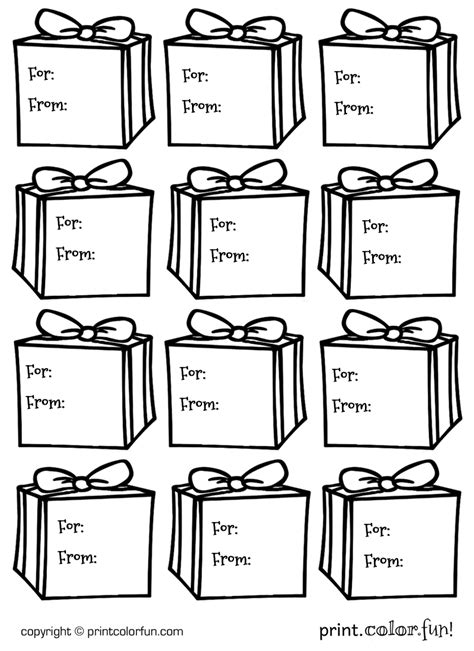 printable gift tags to color gift tags presents coloring page print color fun