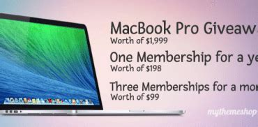 Free Macbook Pro Giveaway - get a premium mythemeshop theme by trying our free theme mythemeshop