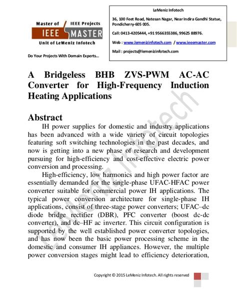 induction heating application note a bridgeless bhb zvs pwm ac ac converter for high frequency induction